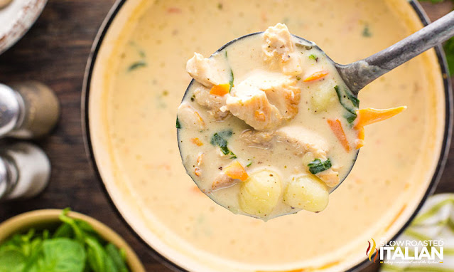 olive garden chicken and gnocchi soup ladle of soup