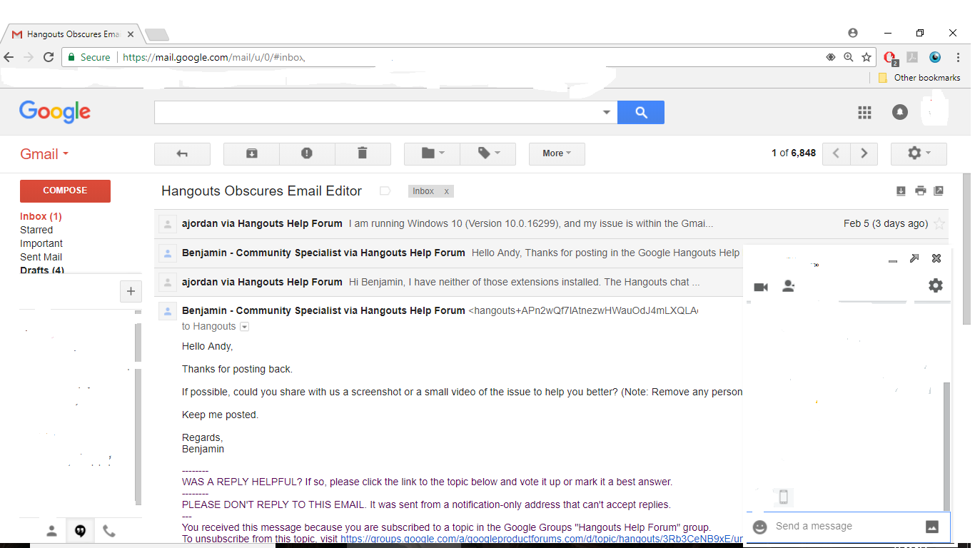 Hangouts Obscures Email Editor - Hangouts Help