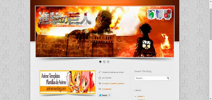 anime blogger template Shingeki no Kyojin 2