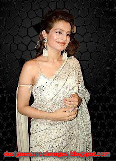 Amisha Patel looks gorgeous in white designer embroidery saree