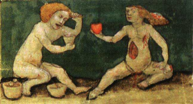 Aurora Consurgens Manuscript Fig1 One Figure Gives His Heart To Nourish Another, Hermetic Emblems From Manuscripts 1