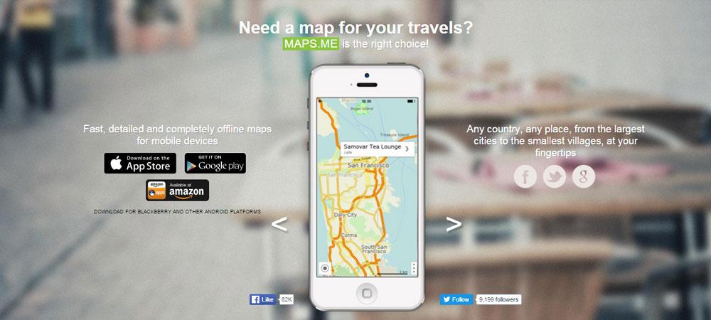 Apps de viagem Maps.me