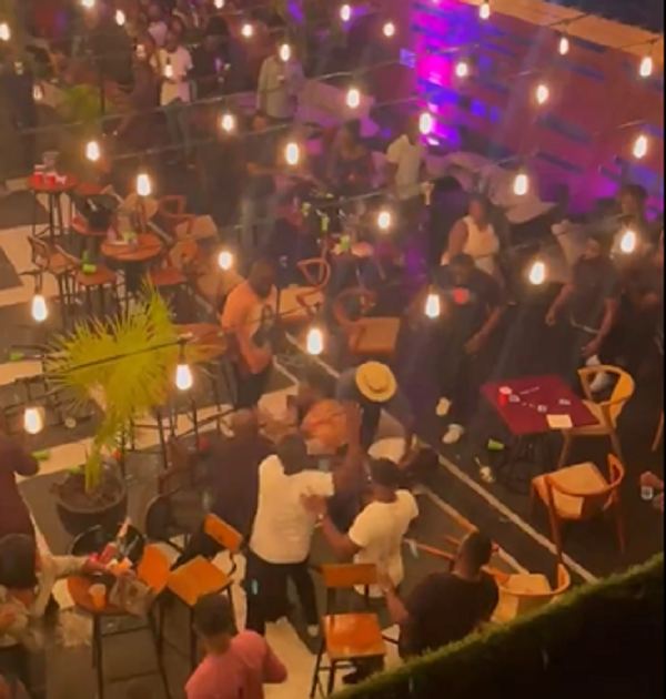 Epic fight breaks out at Ghanaian bar 'over a seat' (video)