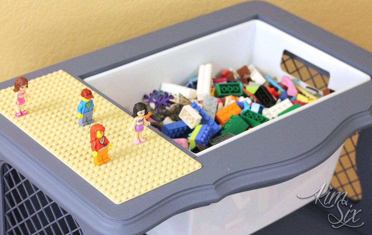 Built in lego storage on table
