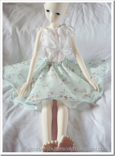 Bjd in a pale blue floral print circle skirt