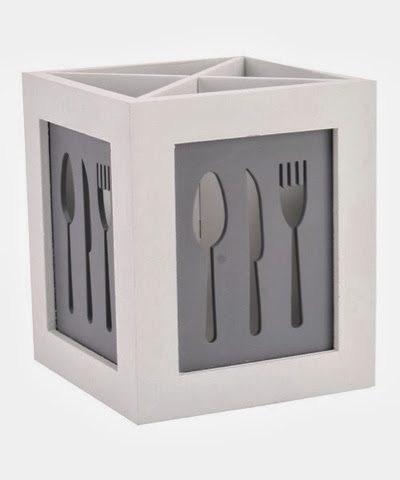 white and grey wooden cutlery box