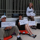 US Boat passengers fasting in front of the US Embassy in Athens