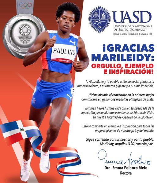 Un orgullo del País y de La UASD  Marileidy Paulino ganadora de medalla de Plata en Tokio
