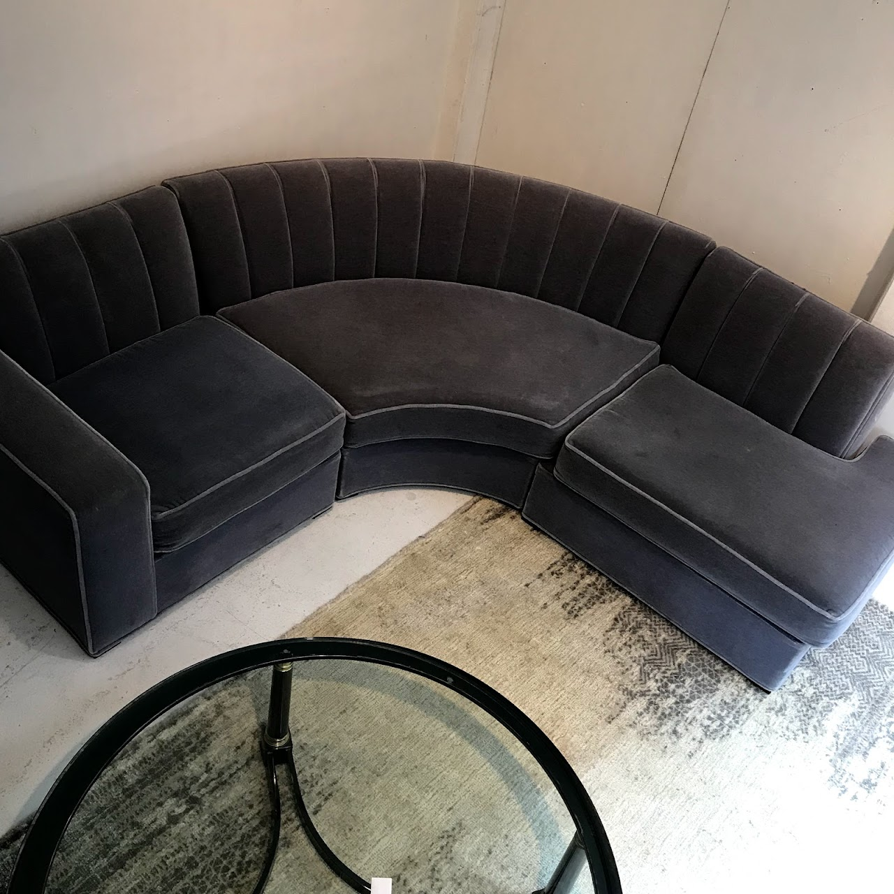 Magnificent Lilac Mohair Curved Sectional Sofa Shophousingworks Ibusinesslaw Wood Chair Design Ideas Ibusinesslaworg
