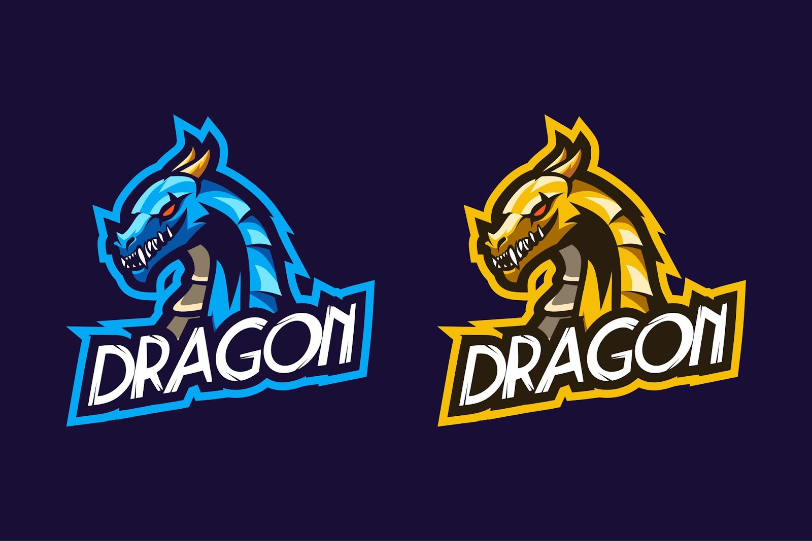 Dragon Esport Logo Option Color Free Download Vector CDR, AI, EPS and PNG Formats