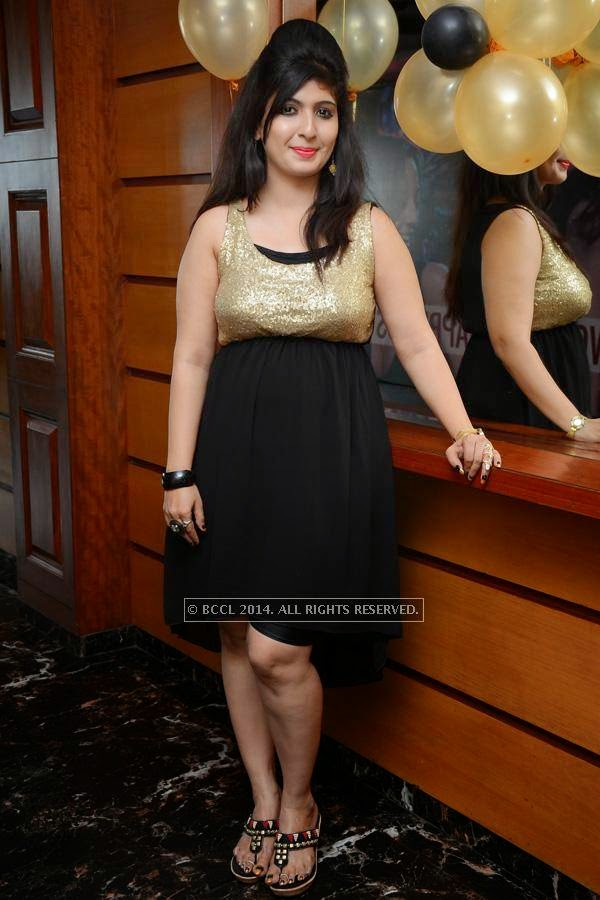 Neha poses on her birthday party, in Hyderabad.