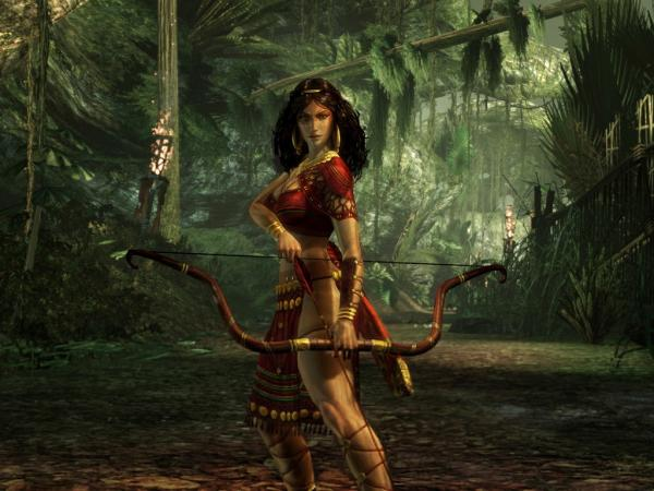 Girl Archer In Green Forest, Warriors