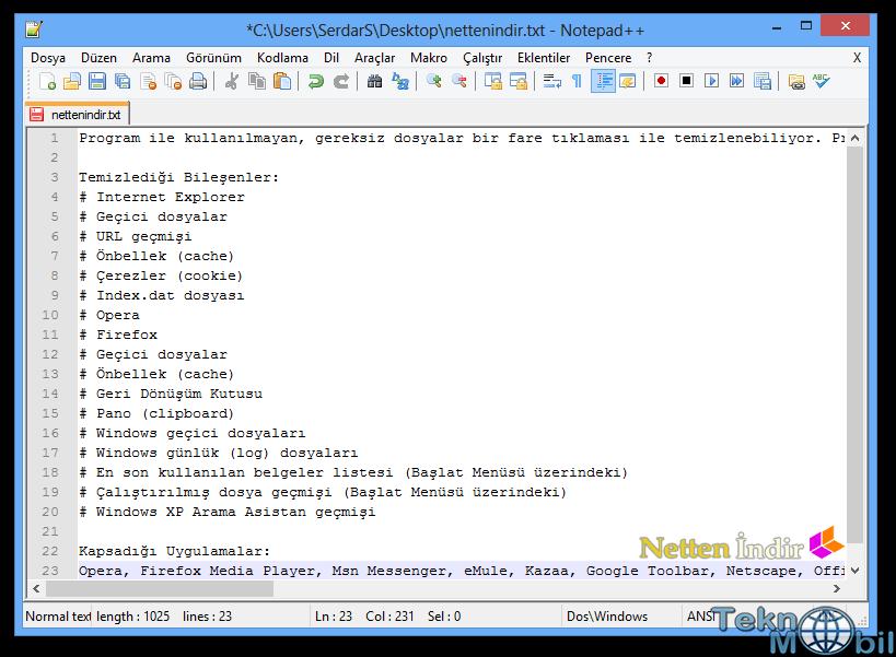 Notepad++ v6.7.9.2 Türkçe