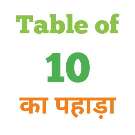 10 Ka Pahada ( 10 का पहाड़ा ) 10 ka pahada in hindi - Group Exam