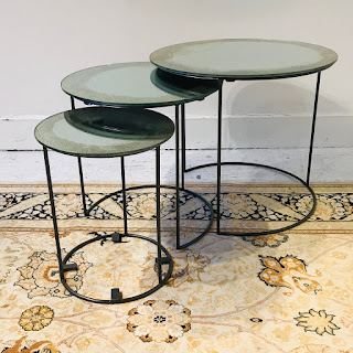 Mirrored Nesting Table Trio