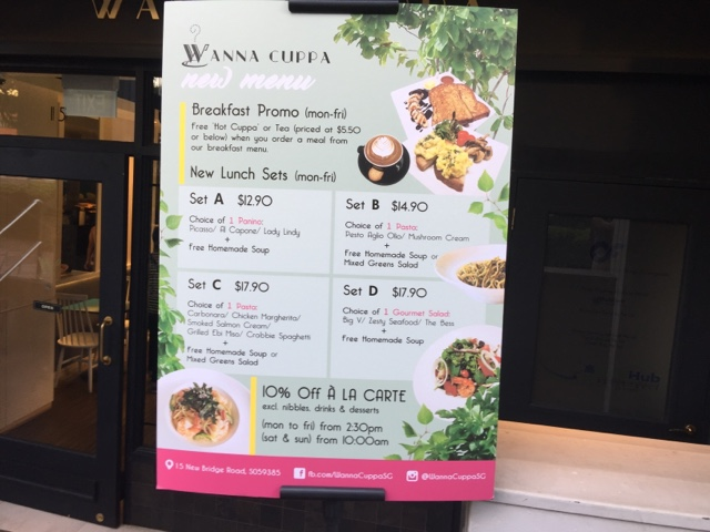 wannacuppa lunch set menu singapore