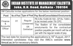 IIM Calcutta Notification 2017 www.indgovtjobs.in