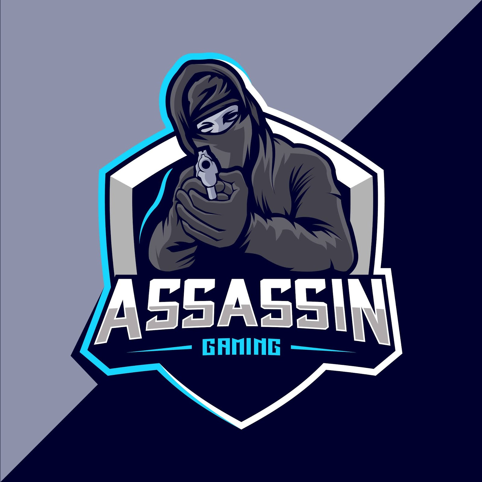 Assassin With Gun Mascot Esport Logo Design Free Download Vector CDR, AI, EPS and PNG Formats