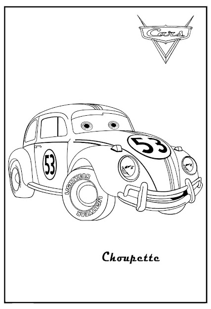 Cars  Printable Coloring Pages  Cars Coloring Herbie Choupette Cars  Coloring Guido Cars Coloring