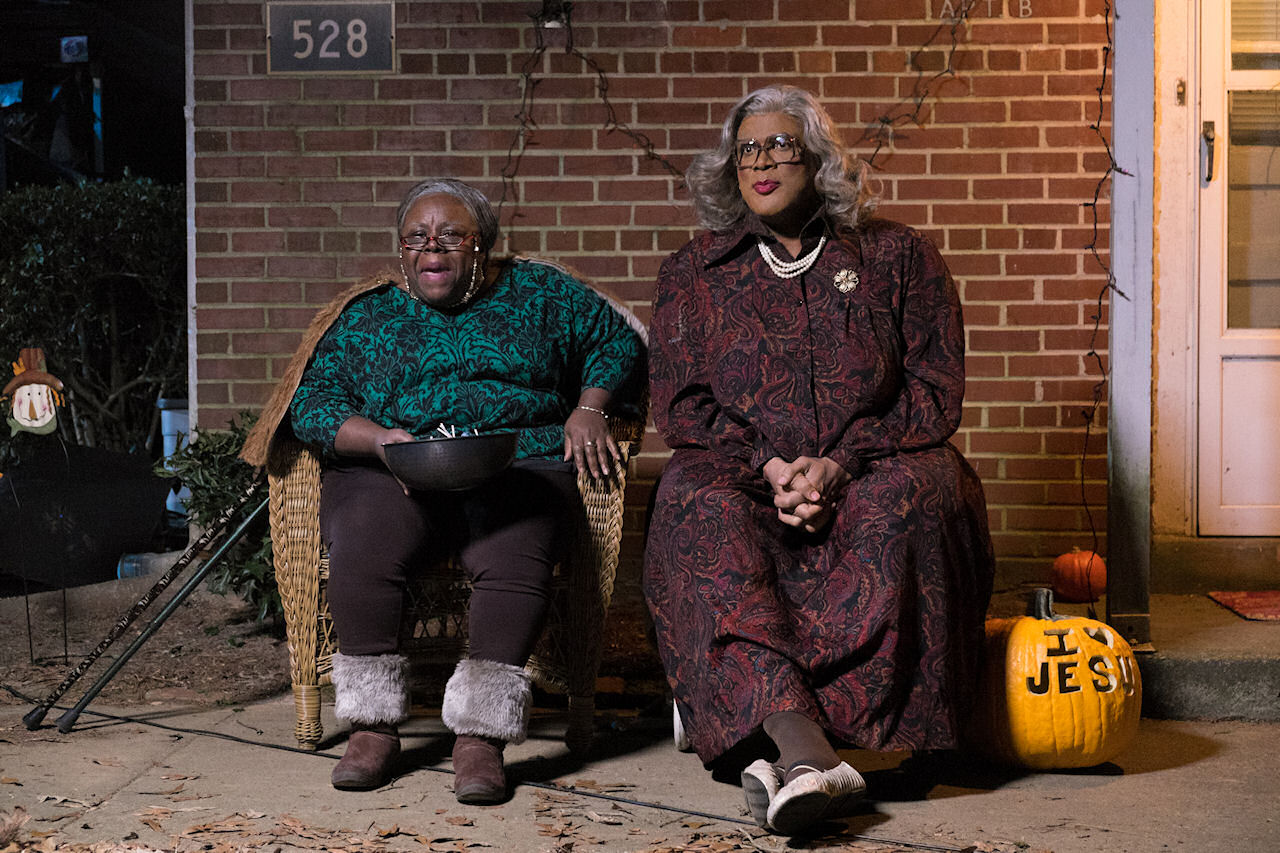 Aunt Bam (Cassi Davis, left) and Madea (Tyler Perry, right) in BOO! A MADEA HALLOWEEN. (Photo by Dan McFadden / Lionsgate)