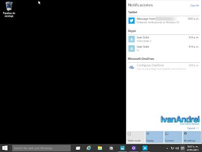 Windows 10 - January Technical Preview - Centro de notificaciones