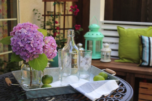 Hydrangeas on back patio table
