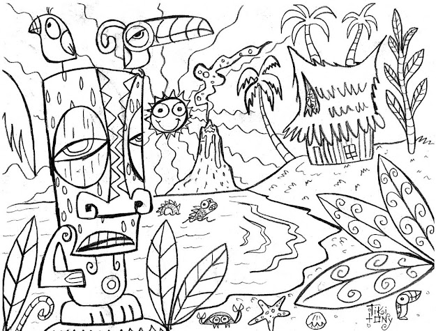 Coloring Pages  On Coloring For Kids With Hawaiian Coloring Pages
