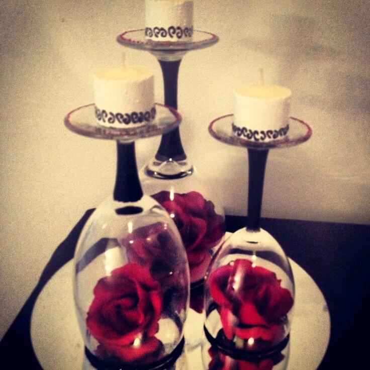 Centros de mesa usando copas de cristal - Sobre de cristal para mesa ...