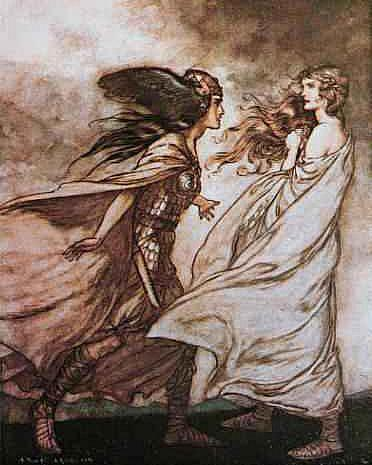 Waltraute Warns Brunhilde To Relinquish The Ring, Asatru Gods And Heroes