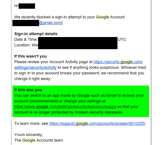 Gmail is blocking access from the IP address from my own computer