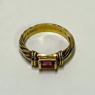 David Yurman 14 K & Pink Tourmaline Ring