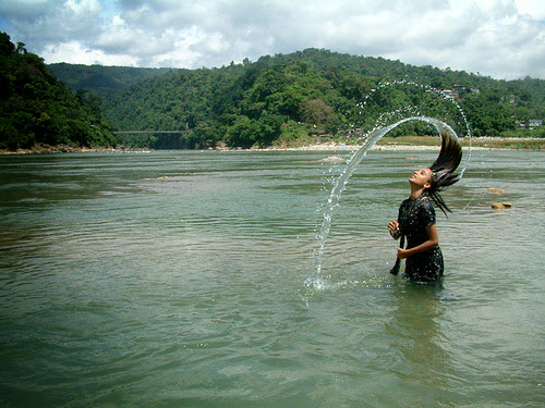 Bathing in the river at jaflong