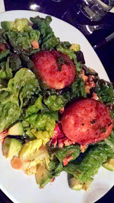 Ox Restaurant side dish of Leaf Lettuces, Mozzarella Milanesa, Spicy Anchovy Vinaigrette, Marcona Almond and Avocado