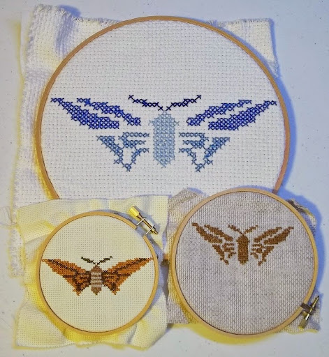 butterfly embroidery samples shown together