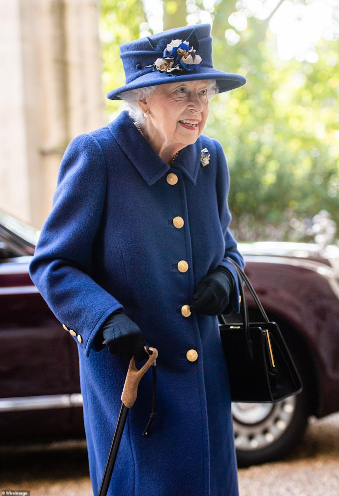 Queen Elizabeth, 95, uses walking stick for for the first time in 18 years as she attends thanksgiving service (Photos)