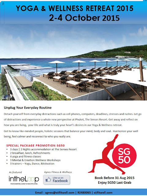 Welcome to our Yoga & Wellness Retreat 2015.  It will be held at Phuket, The Senses Resort (5 star hotel).  Enjoy special SG50 discount when you book before 31 Aug 2015.  Give yourself a break!