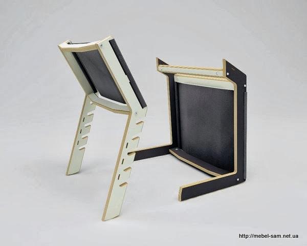 Фанерный стул INDU в разобранном состоянии. Вид сзади.