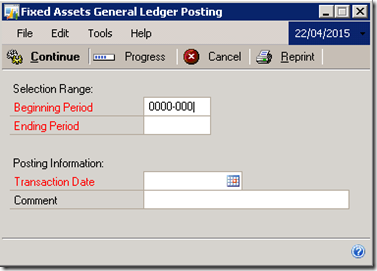 Fixed Asset GL Posting