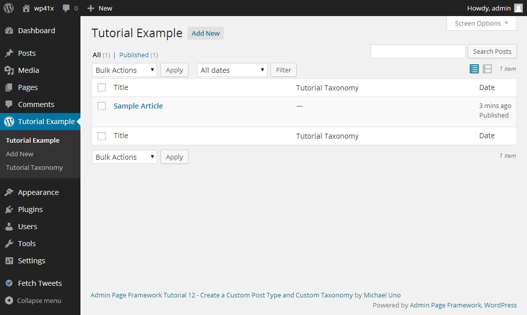 Create Custom Post Type and Custom Taxonomy - Admin Page Framework