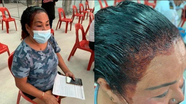 Demi Dapat Vaksin Covid-19, Ibu Ini Rela Datang Meski Semir Rambutnya Masih Basah