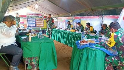 Peran Satgas TMMD di Pos Kotis dalam Menyiapkan Paparan Dansatgas  Kegiatan Fisik dan Non Fisik ke Tim Masev TNI AD