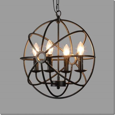 Industrial Vintage Retro LOFT style wrought iron Metal Globe Cage Round Pendant