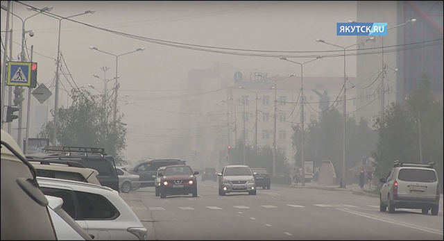 The city of Yakutsk is covered in smoke from forest fires in Siberia, 24 July 2017. Photo: Yakutsk.ru