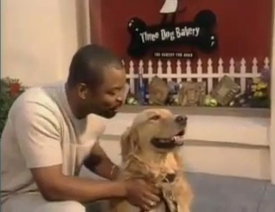 LeVar Burton and Roy outside the Three Dog Bakery