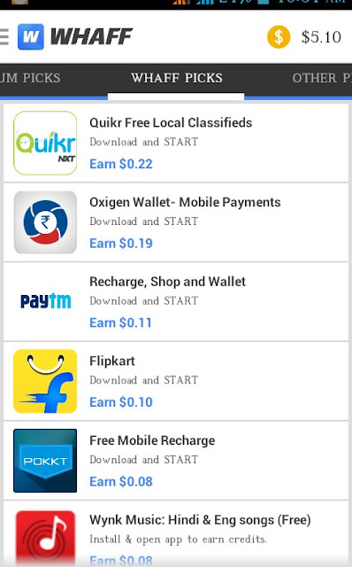 Earn paypal cash and gift cards by whaff app