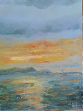 zachód słońca, olej, płótno, 30x40cm