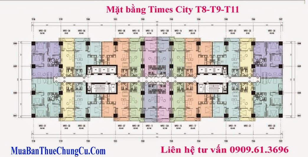 Bán chung cư Times City T8 T9 T11 mặt bằng điển hình