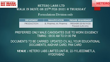 Freshers Opportunity At Hetero For Production Department