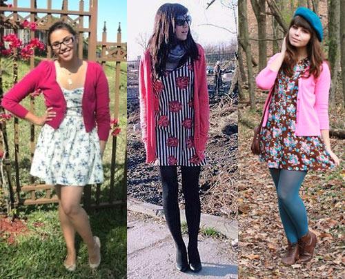 Como usar cardigã rosa com vestido estampado