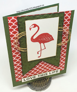 Linda Vich Creates: Something Old, Something New. The flamingo from the new Pop of Paradise stamp set is the highlight of this textured card using a stunning color combo of Watermelon Wonder, Always Artichoke and Whisper White.